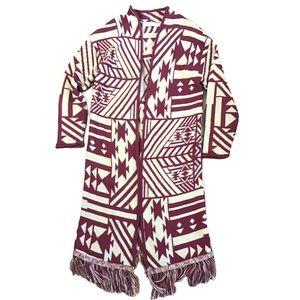Cotton Emporium Tribal Print Fringe Long Cardigan